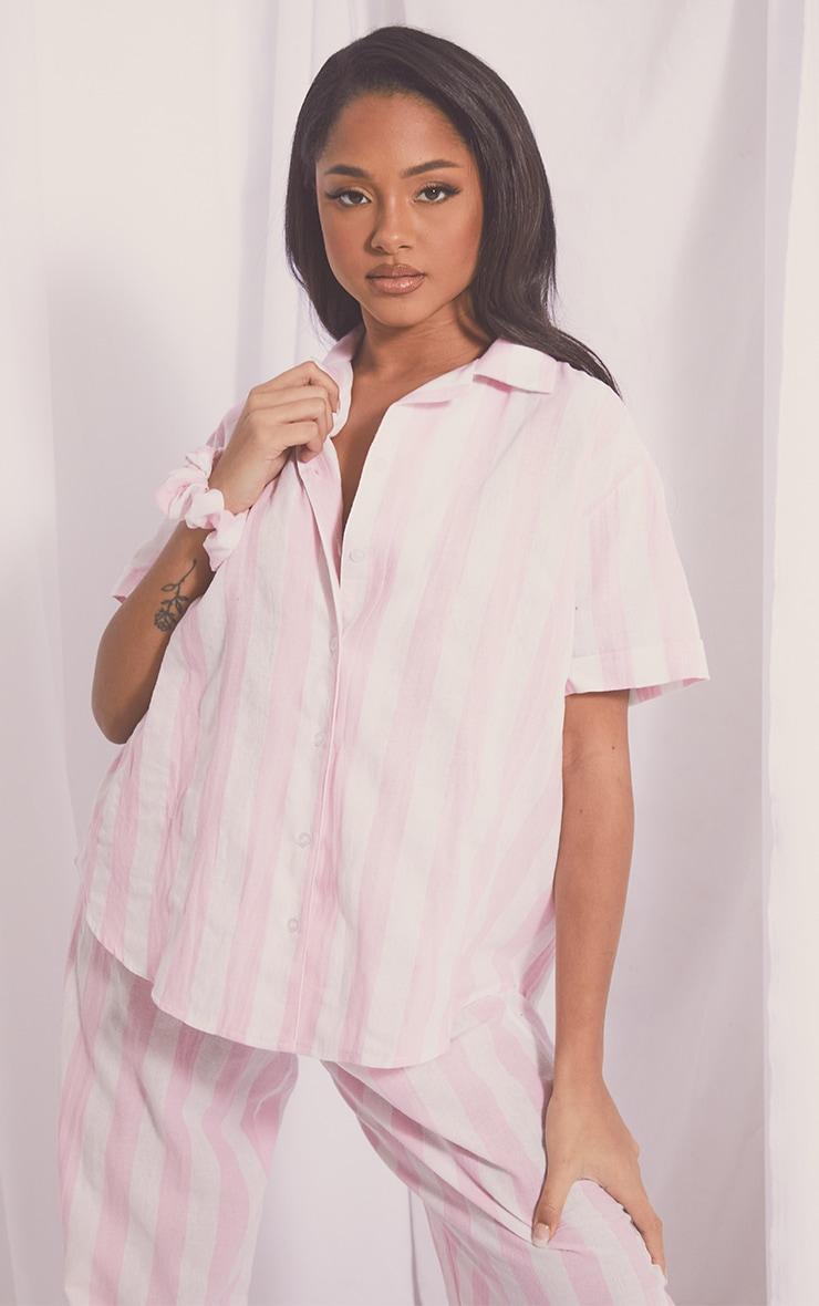 Pink Mix And Match Wide Stripe Cotton Short Sleeve PJ Shirt 1
