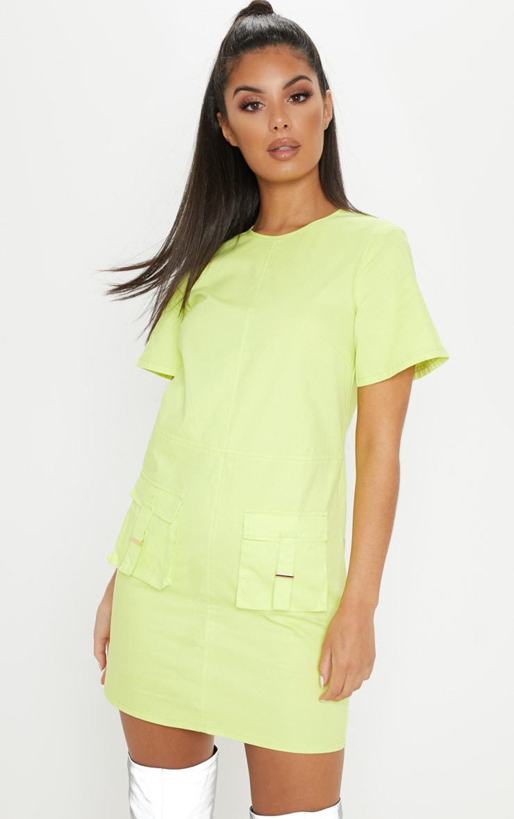 Lime Utility Pocket Shift Dress