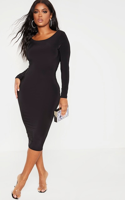 Shape Black Slinky Long Sleeve Ruched Back Midi Dress