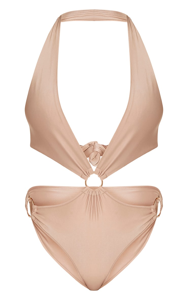 Charline Camel Plunge O Ring Swimsuit 3