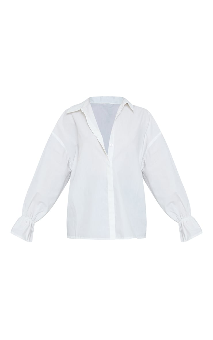 White Poplin Flare Cuff Oversized Shirt 5