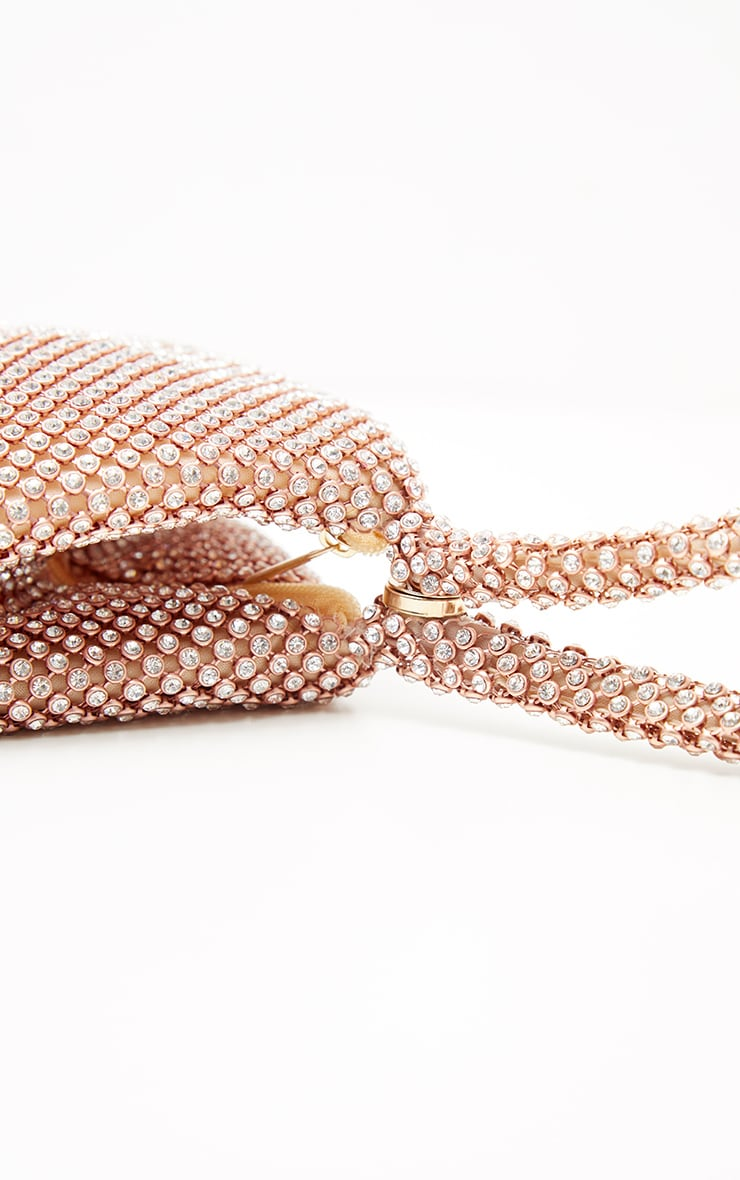 Rose Gold Diamante Chainmail Pouch 3
