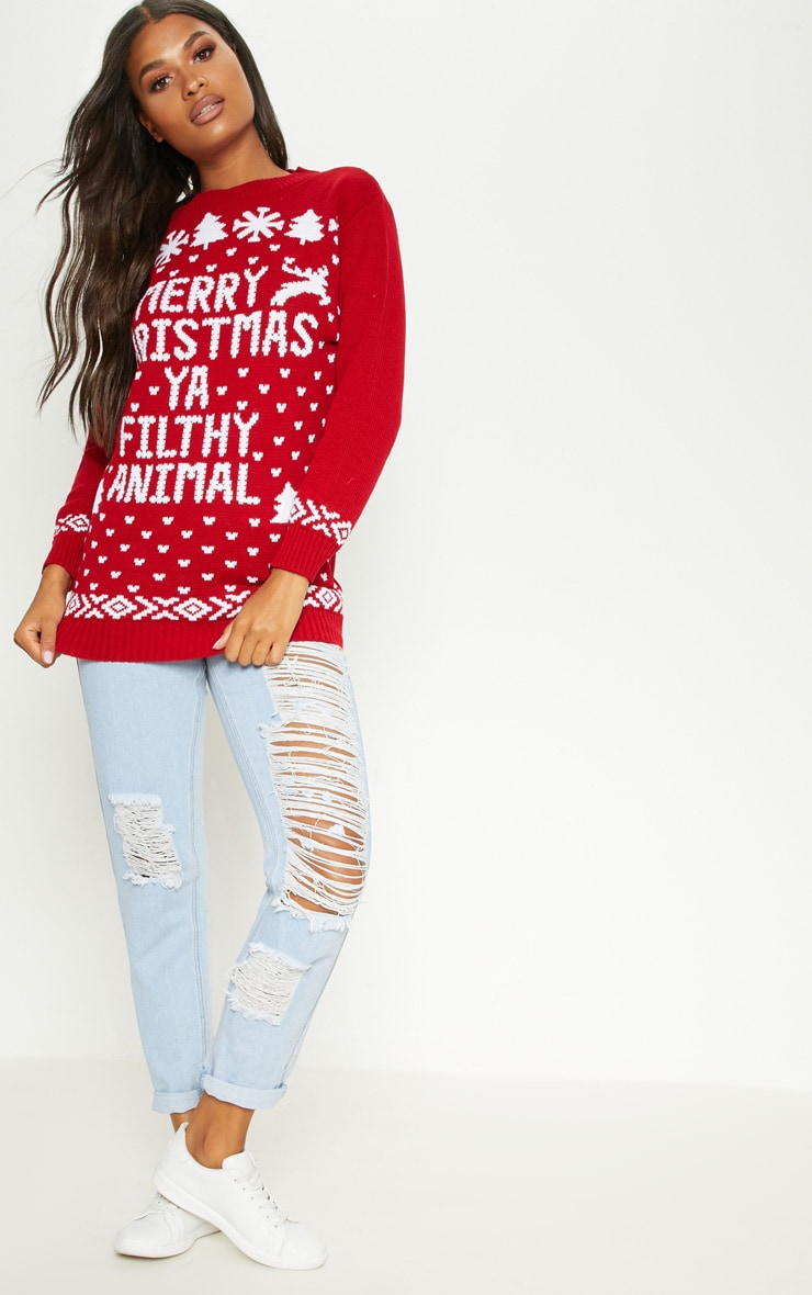 Filthy Animal Red Christmas Jumper 3