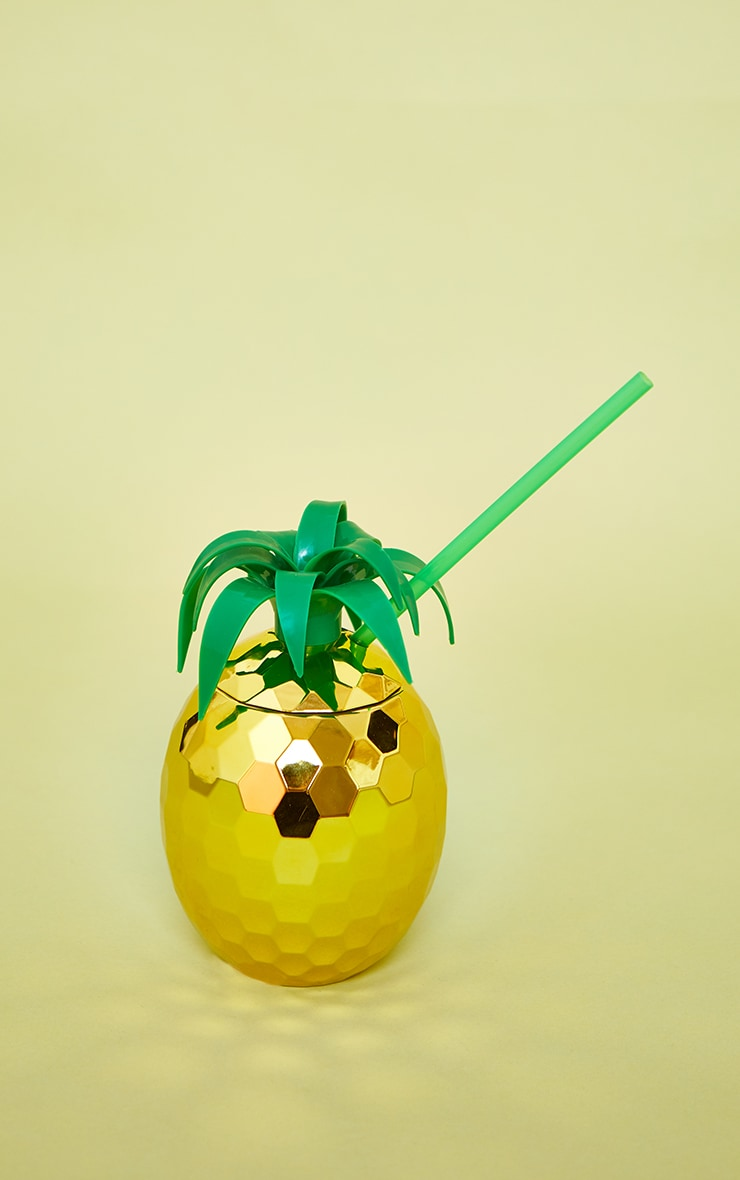 Gold Pineapple Cocktail Cup & Straw 3