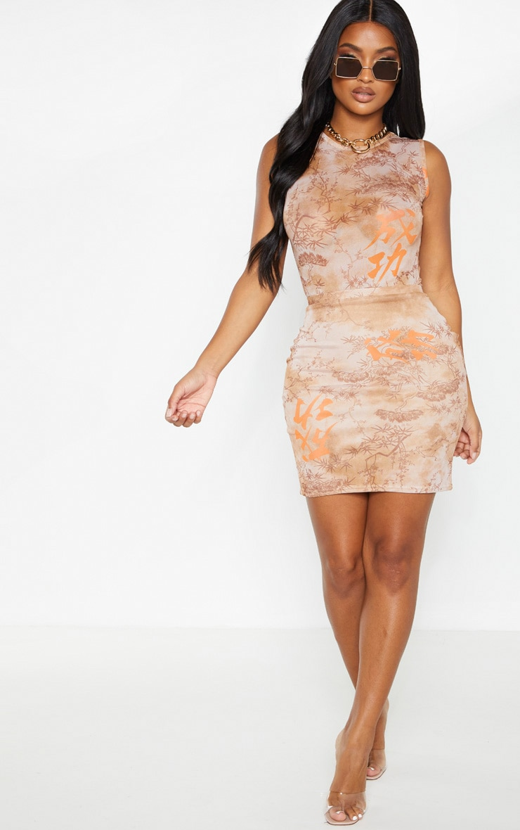 Shape Nude Oriental Print Bodycon Skirt 3