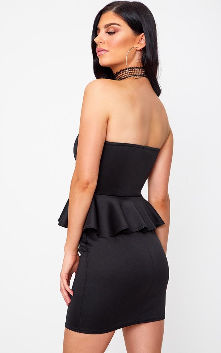 Black Corset Detail Peplum Bodycon Dress 2