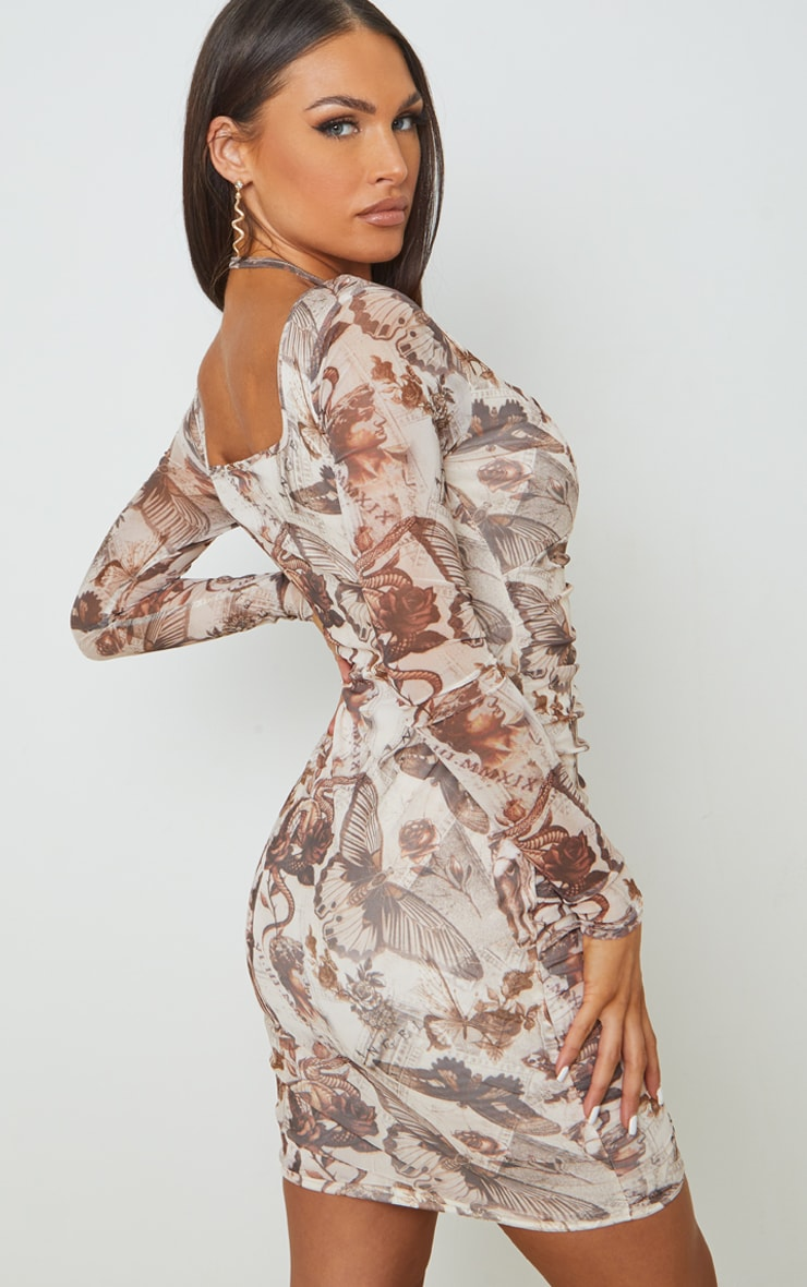 Nude Renaissance Printed Mesh Halterneck Detail Long Sleeve Bodycon Dress 2