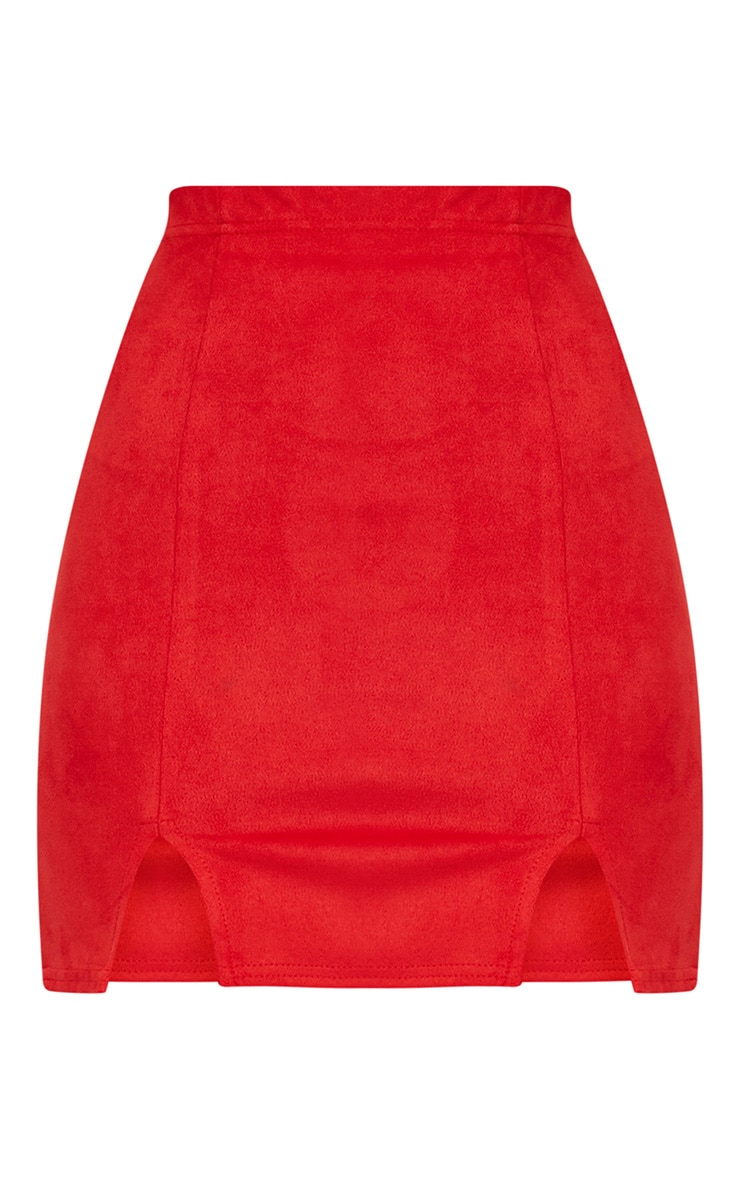 Red Faux Suede Side Split Mini Skirt 4