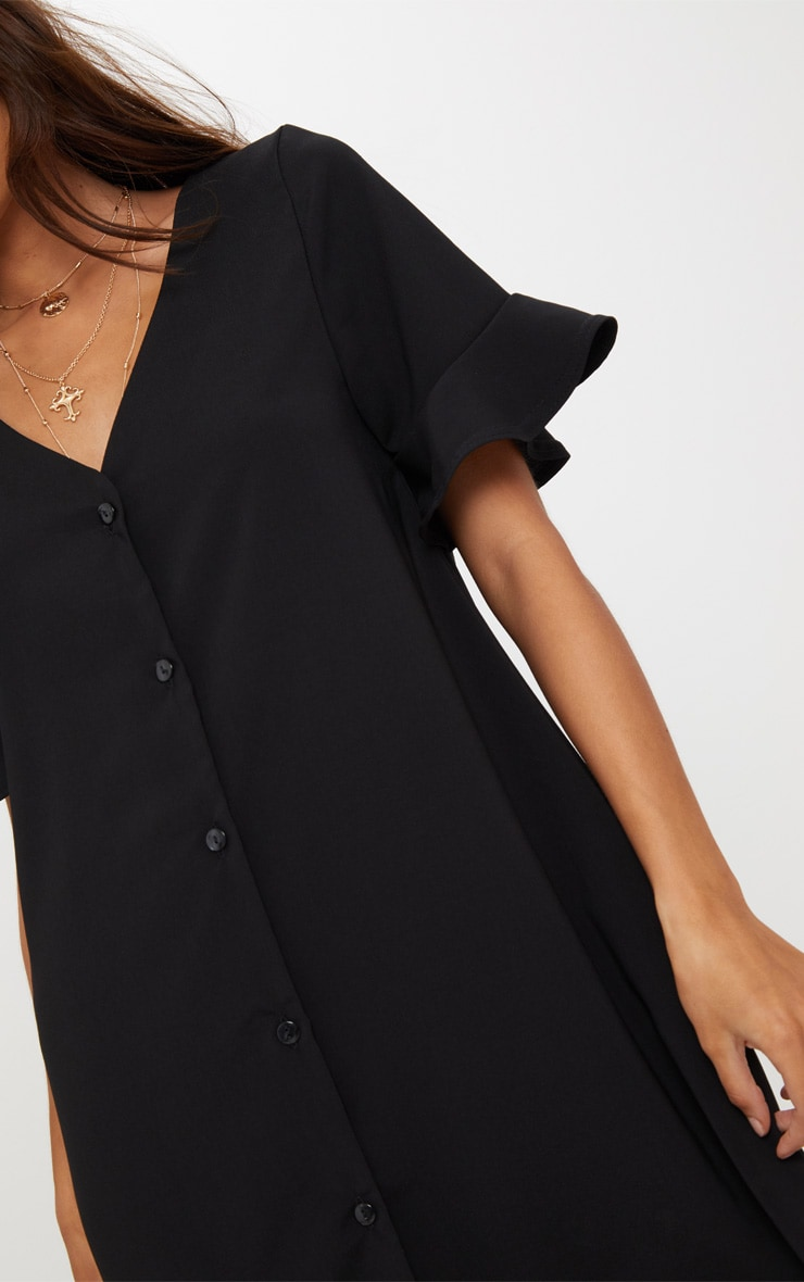 Black Button Through Frill Sleeve Shift Dress 5