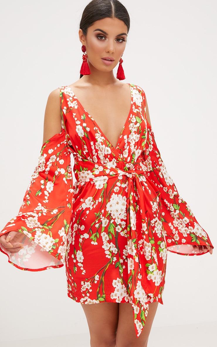 257bf97b887 Red Floral Satin Cold Shoulder Shift Dress. Dresses ...