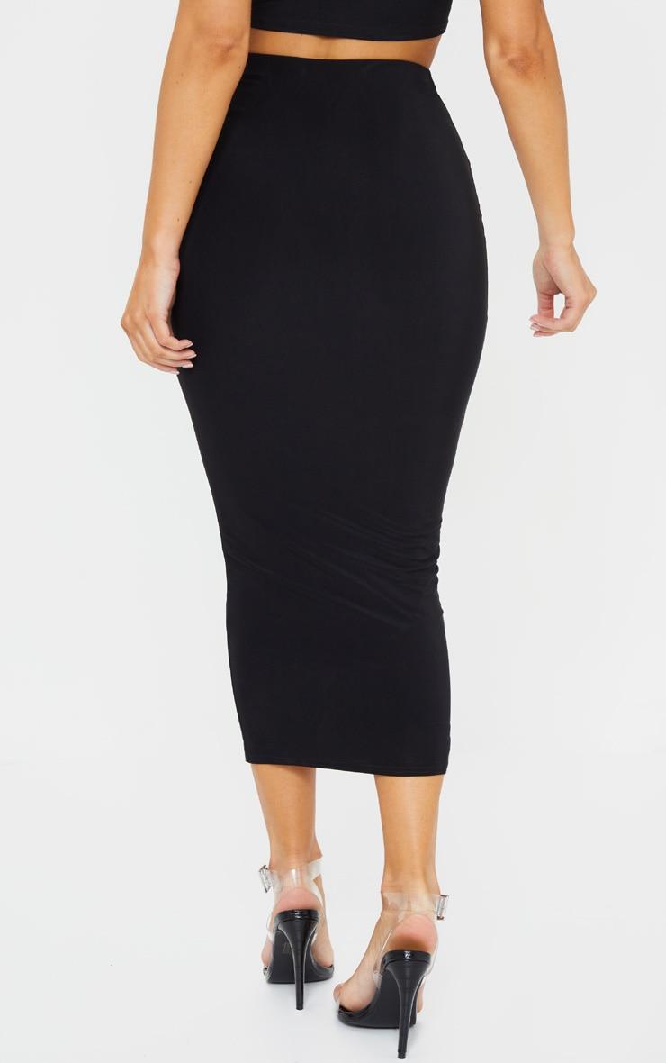 Black Second Skin Slinky Longline Midaxi Skirt  3