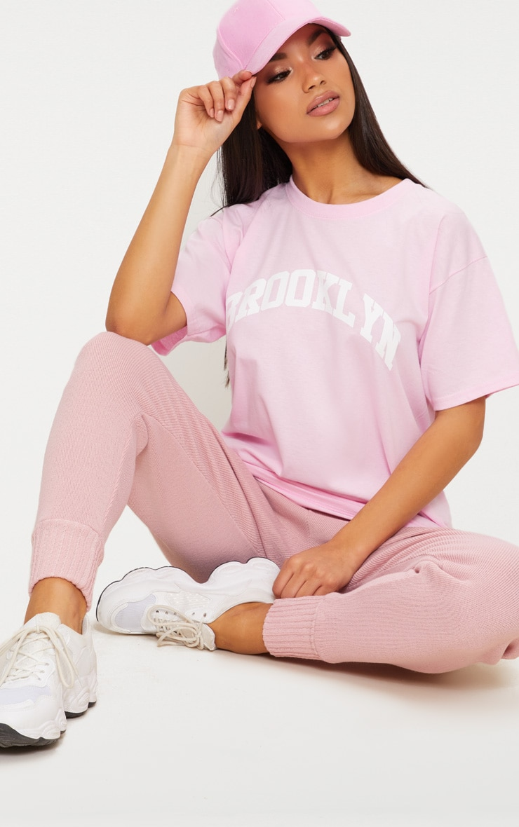 Pink Brooklyn Slogan Oversized T Shirt