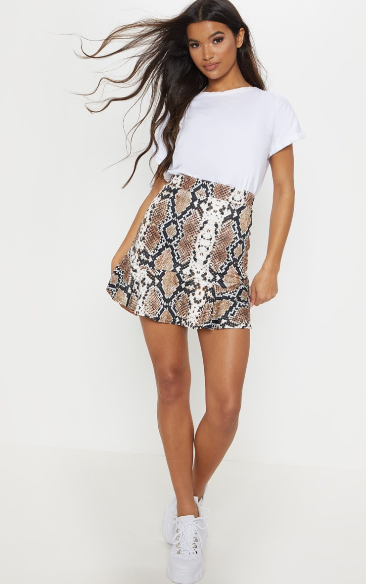Taupe Verity Snake Print Flippy Hem Mini Skirt 5