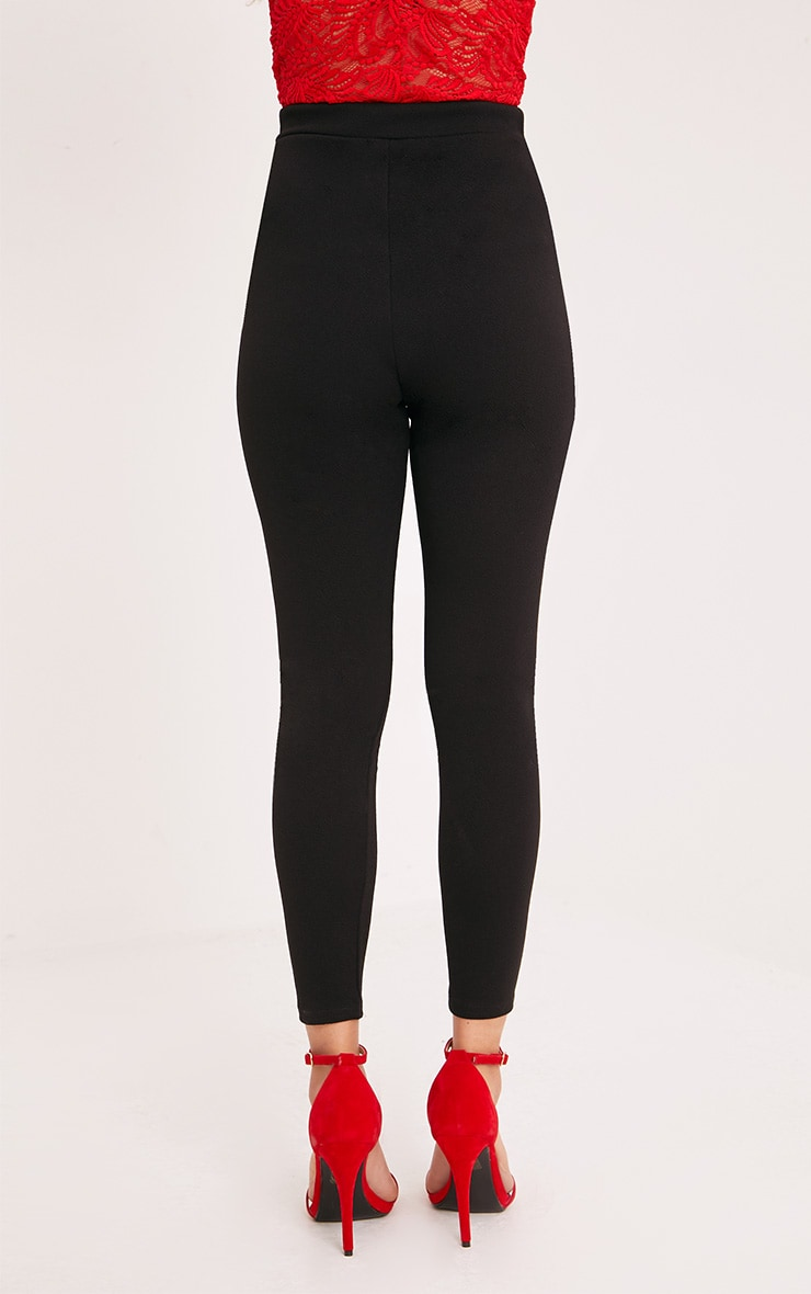 Roniya Black Rose Applique Skinny Trousers 4
