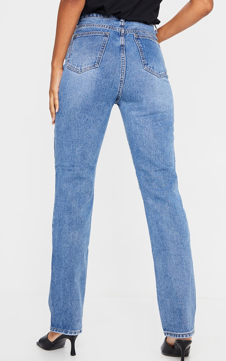 Mid Blue Wash Ripped Knee Long Leg Straight Jeans 3