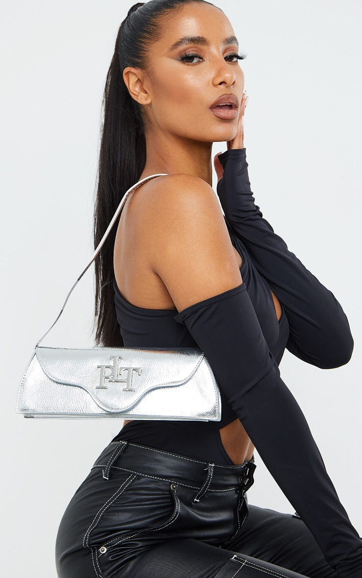 PRETTYLITTLETHING Silver Metallic Shoulder Bag 1