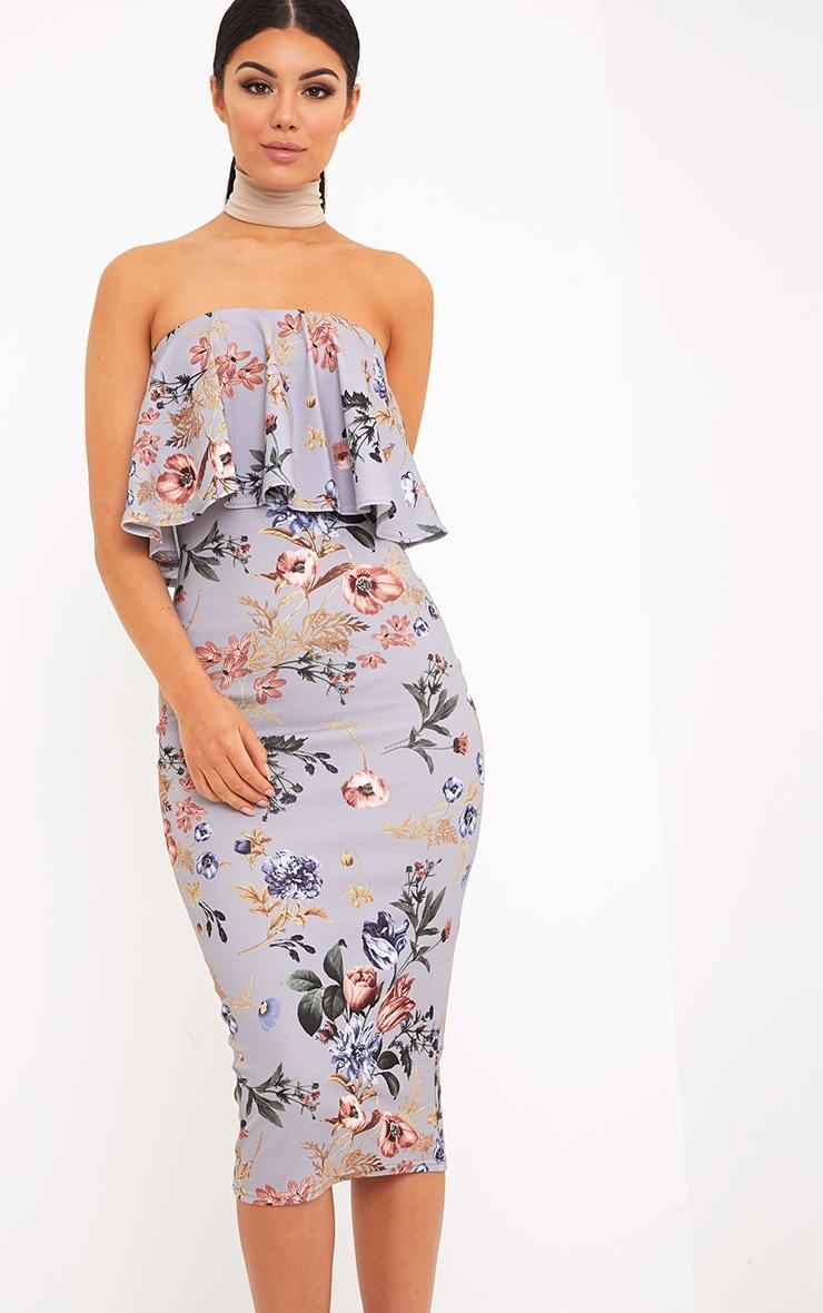 Santia Grey Floral Print Bandeau Frill Midi Dress 1
