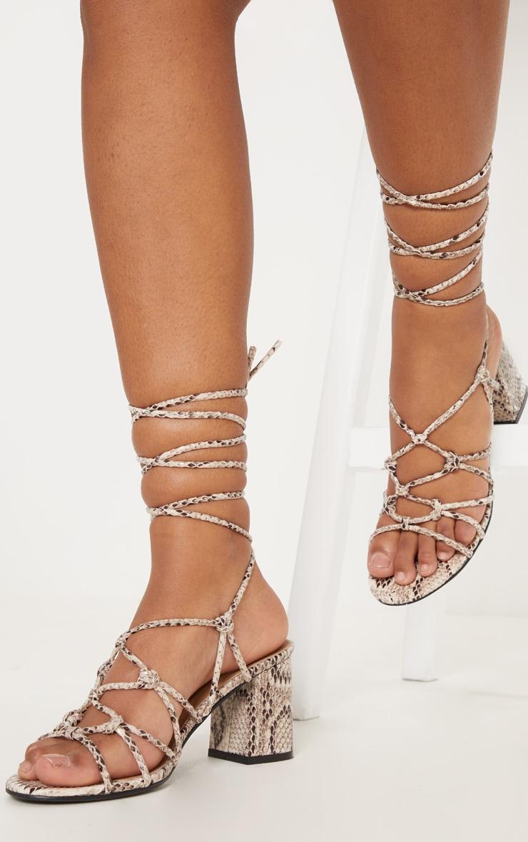 Snake Block Heel Leg Tie Sandal 1