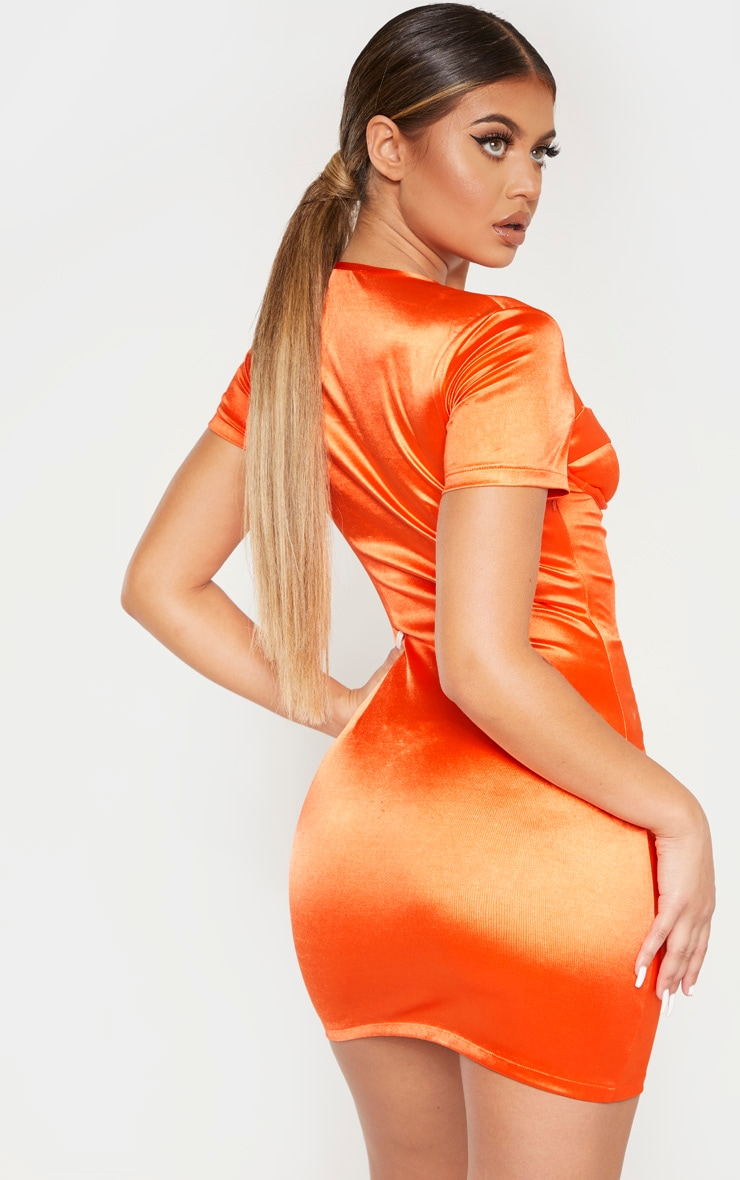 Orange Satin Cup Detail Ruched Front Bodycon Dress 2
