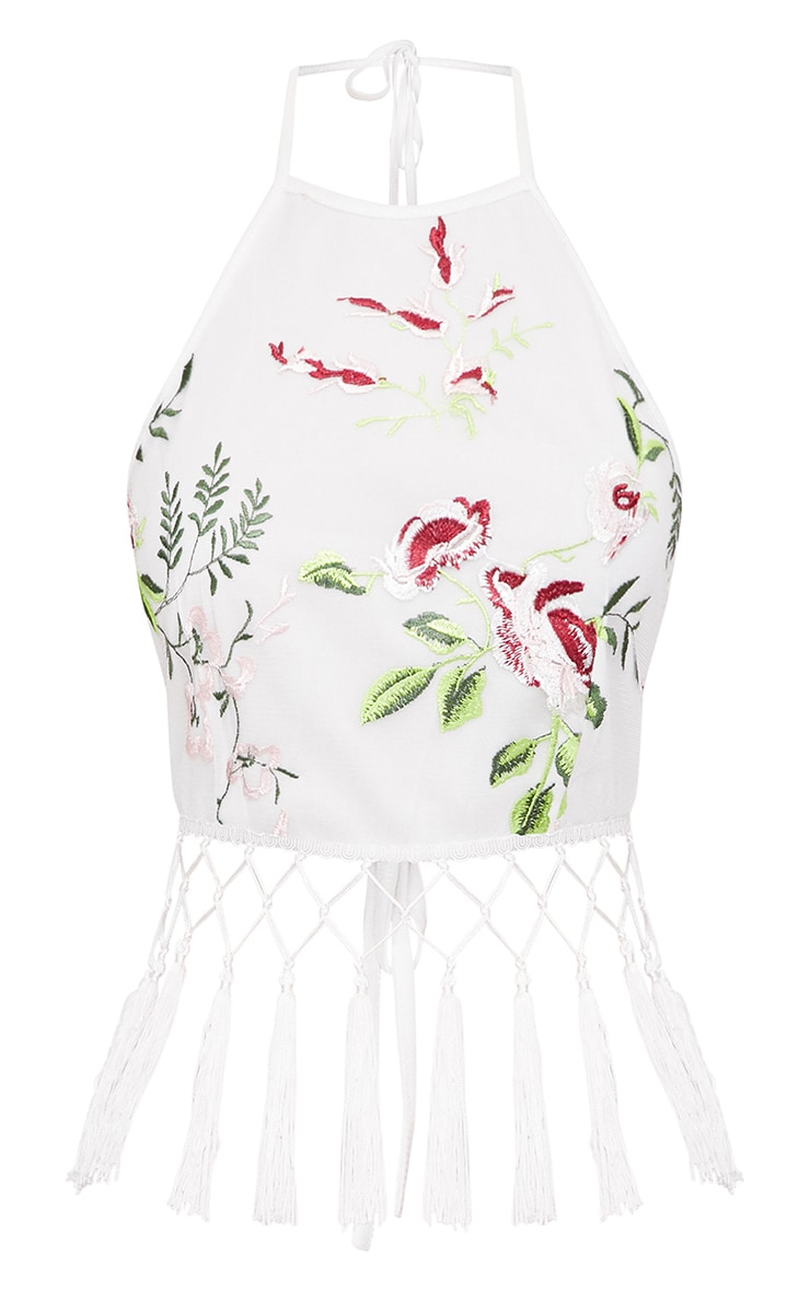 White Floral Embroidered Tassel Crop Top 3