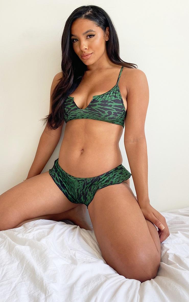 Green Leopard Slash Neck Cropped Bikini Top 3