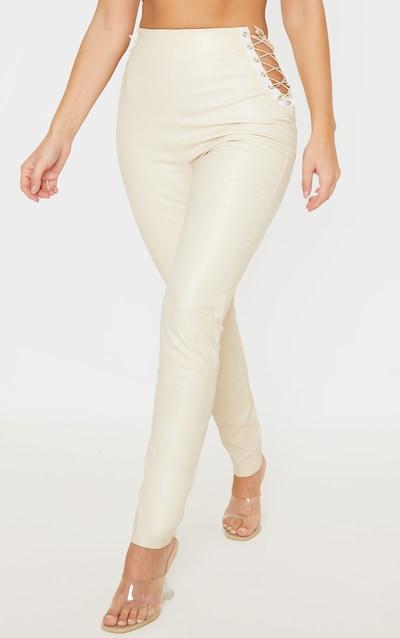 Stone PU Lace Side Skinny Trousers