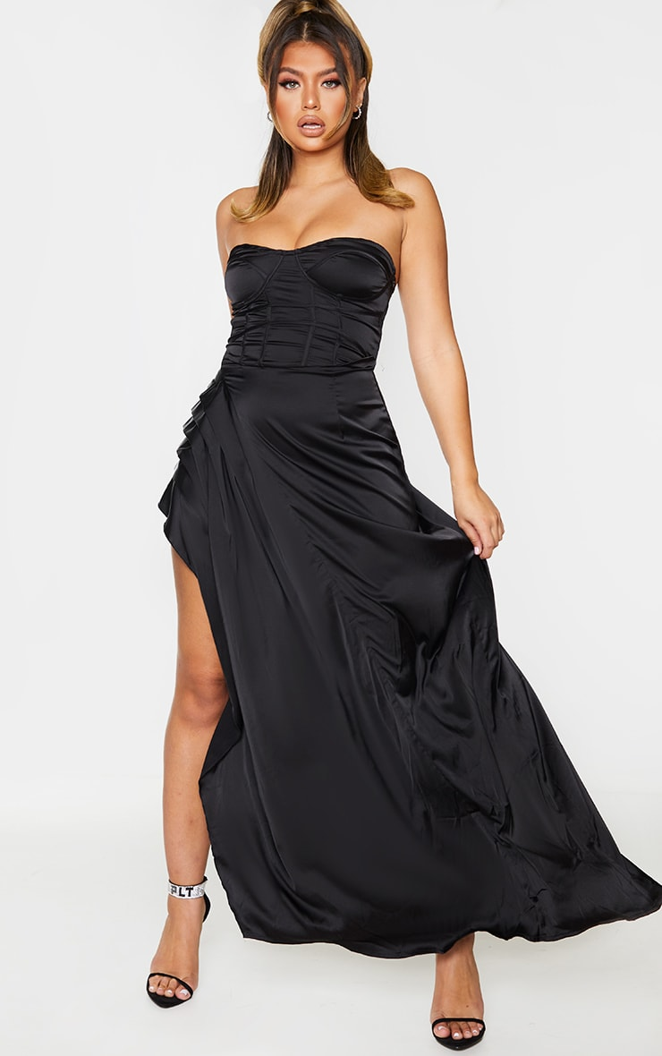Black Satin Binding Detail Corset Maxi Dress 1