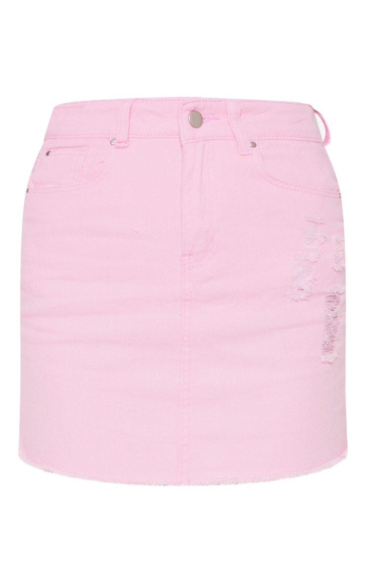 Light Pink Distressed Denim Skirt 3