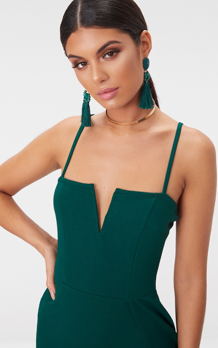 Emerald Green Extreme Thigh Split Panelled Plunge Bodycon Dress 5