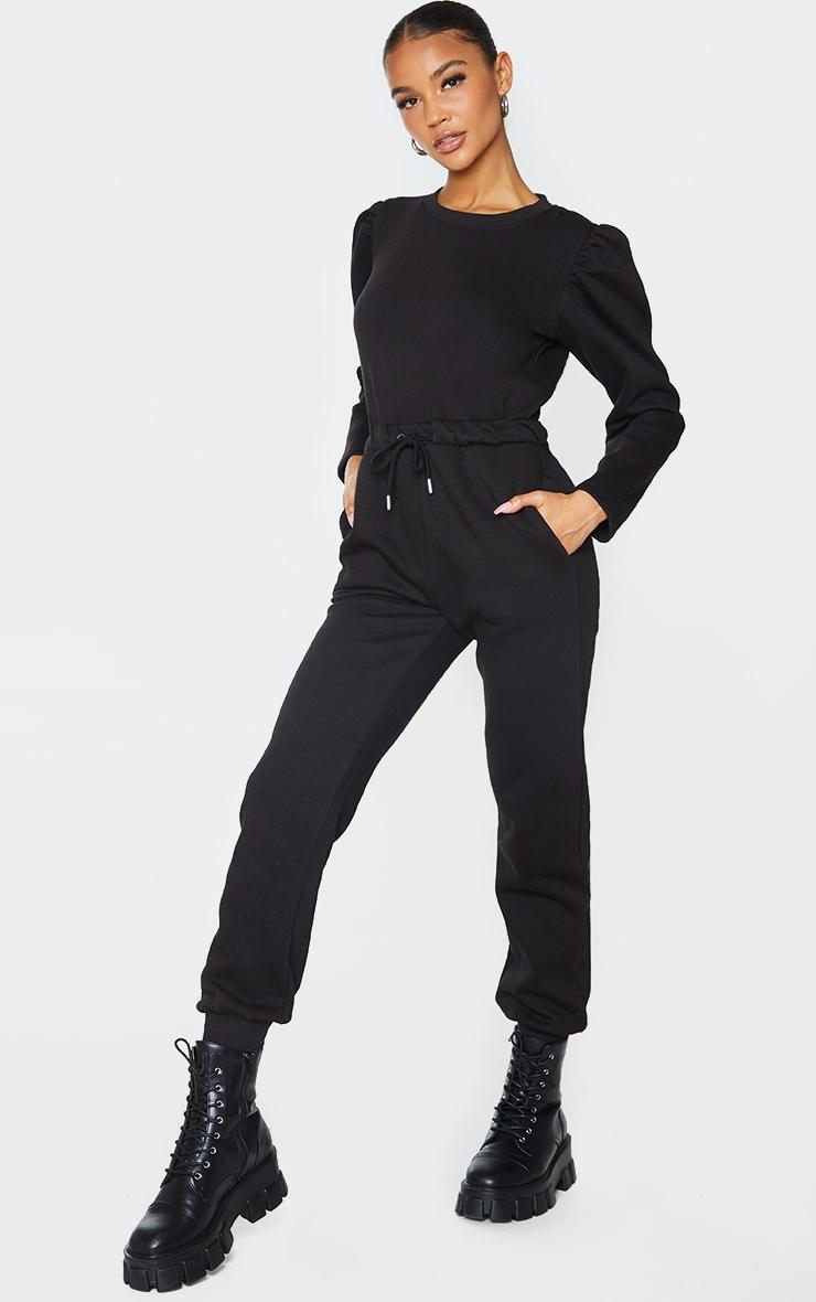 Black Puff Sleeve Sweat Jumpsuit 3
