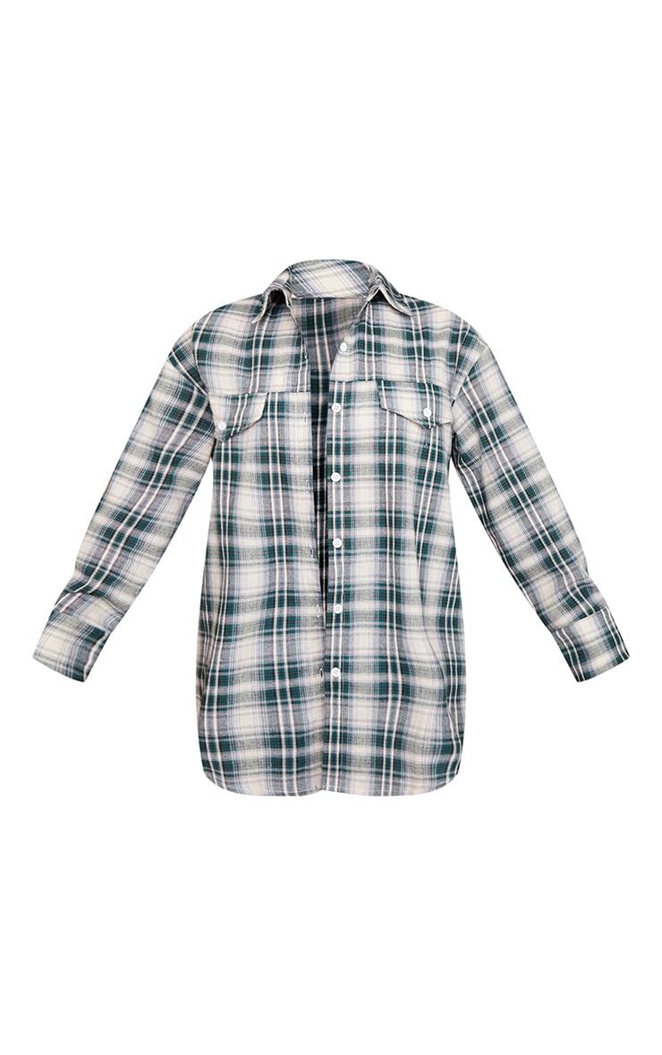 Petite Mint Checked Oversized Shirt 5
