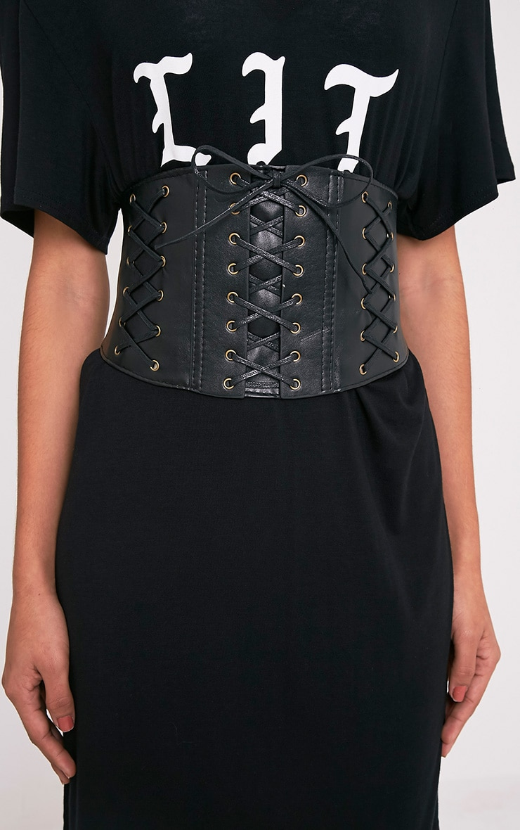 Winea Black Lace Up Detail Corset Style Belt 2
