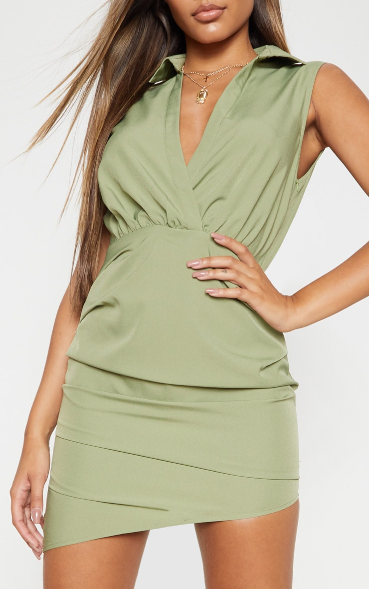 Olive Khaki Sleeveless Ruched Drape Shirt Dress 5