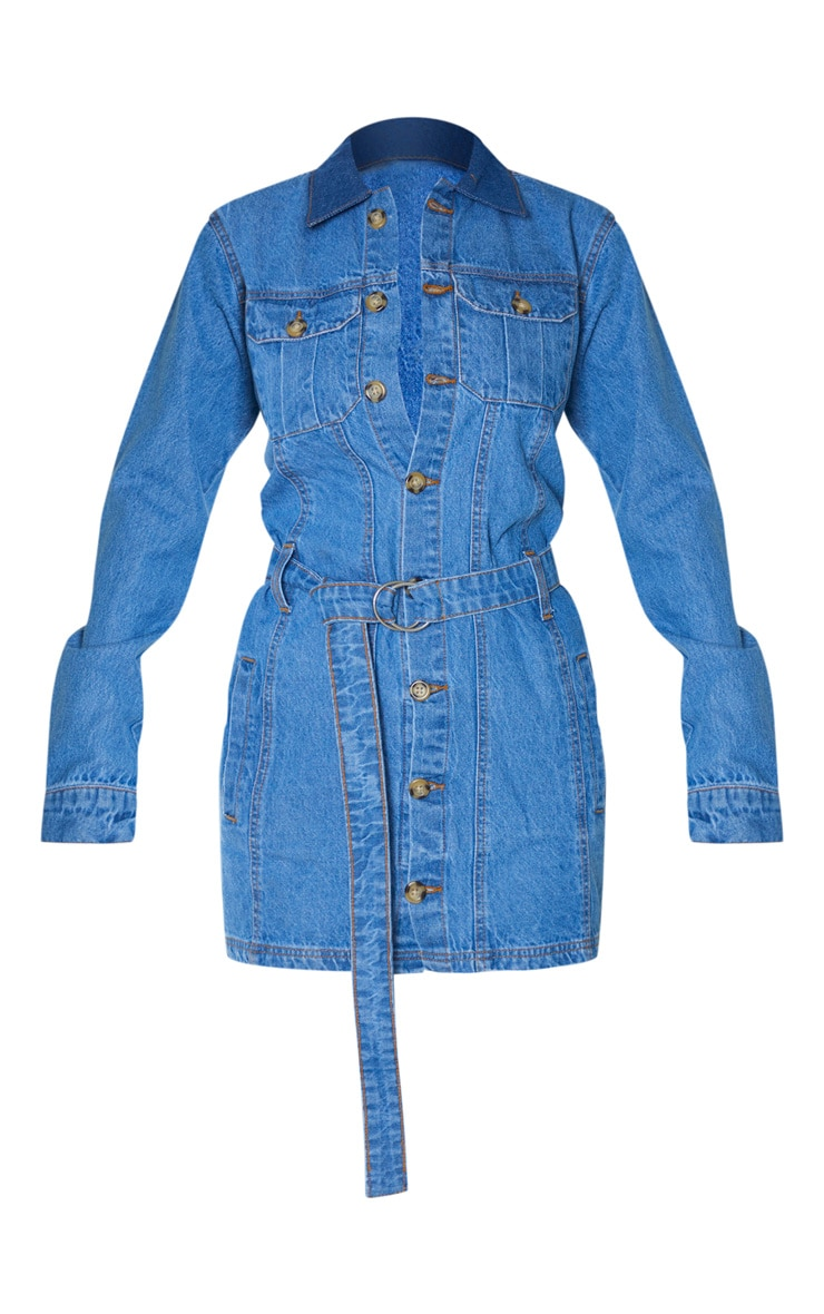 Tall Blue Washed Belted Denim Shirt Dress 3