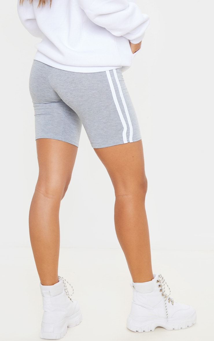 Grey Double Side Stripe Bike Short 4