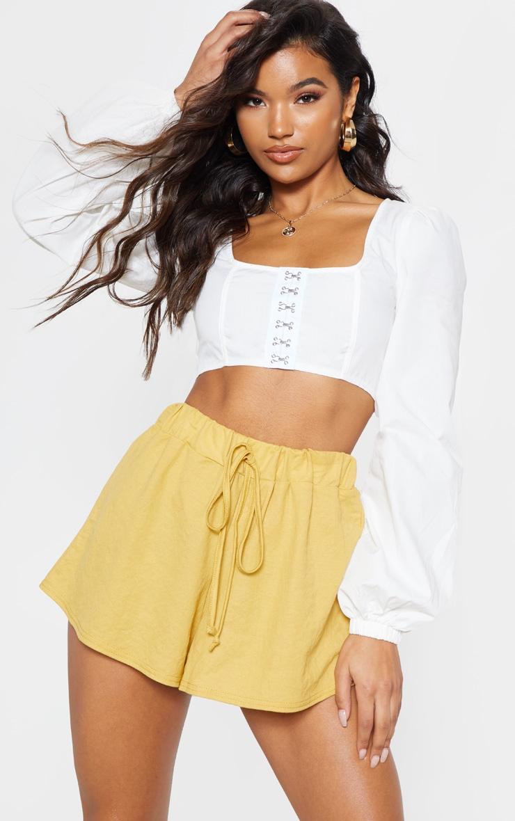 Mustard Tie Waist Linen Feel Shorts 1