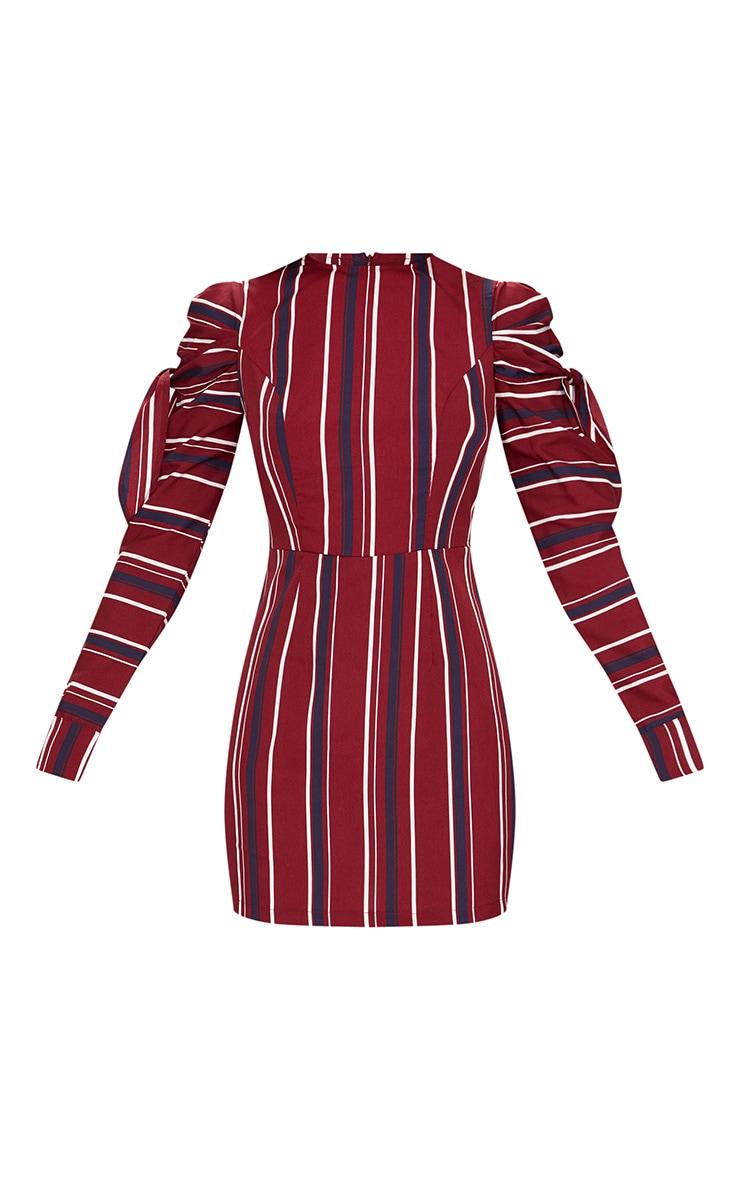 Burgundy Striped Long Sleeve Tie Detail Bodycon Dress 3