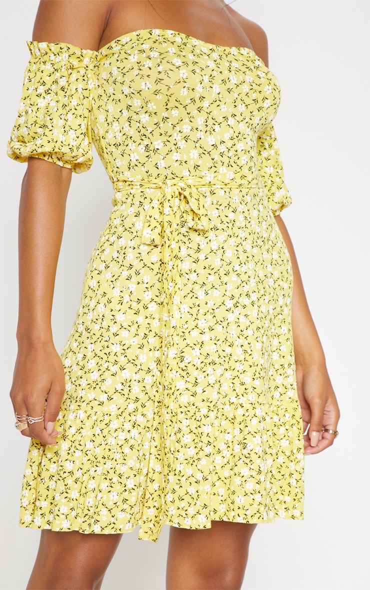 Yellow Ditsy Print Bardot Frill Hem Skater Dress  5