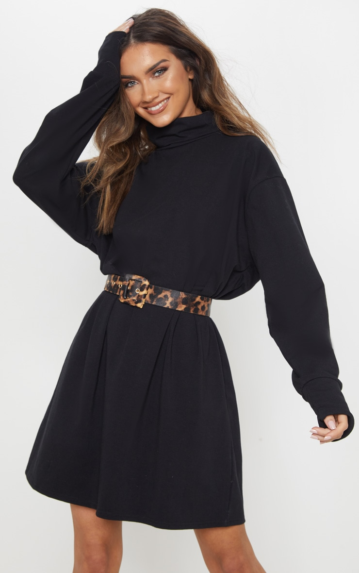 Black High Neck Long Sleeve T-Shirt Dress 1
