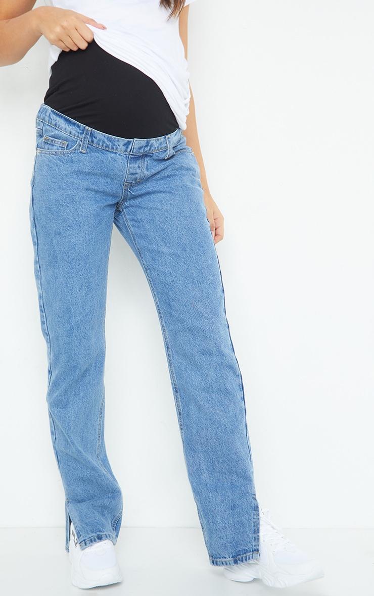 Maternity Mid Wash Split Hem Jeans image 2
