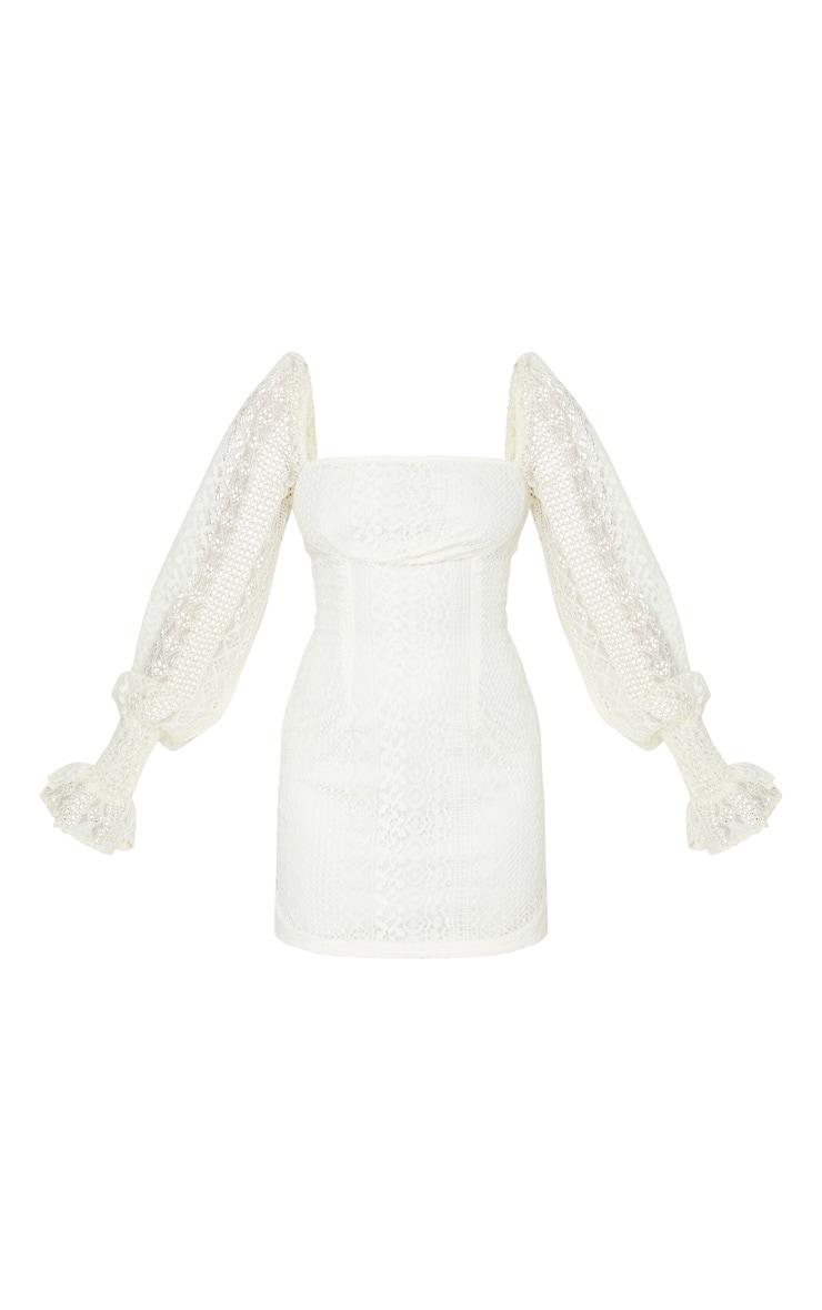 Petite Cream Long Sleeve Lace Swing Dress 5