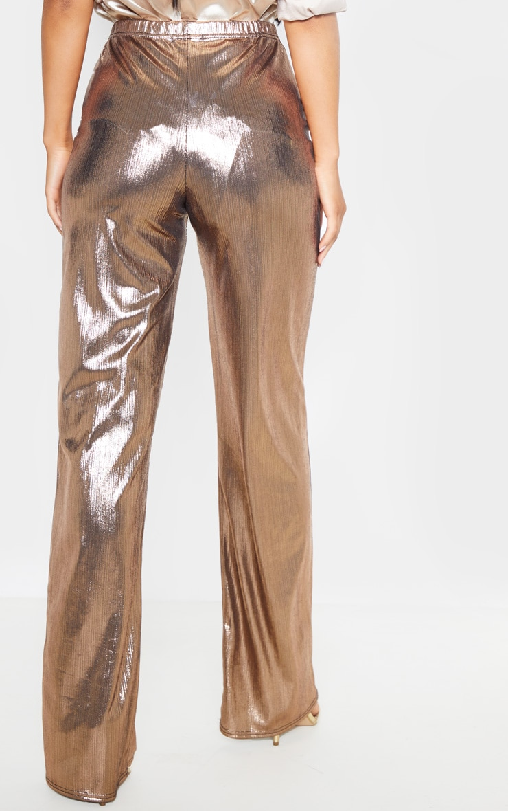 Bronze Metallic Straight Leg Trouser 4