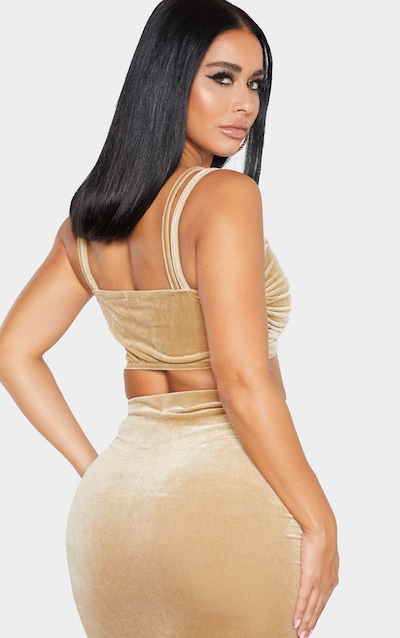 Shape Champagne Velvet Strappy Ruched Front Crop Top