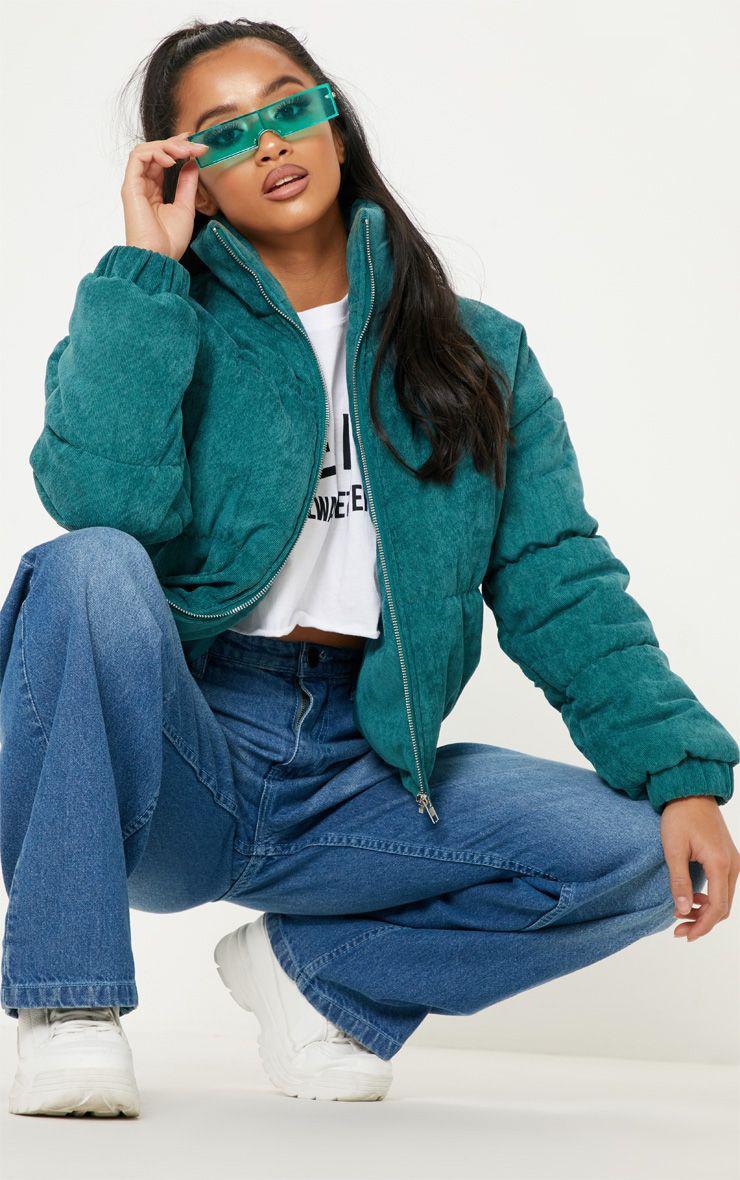 Petite Emerald Green Cord Puffer Jacket 1