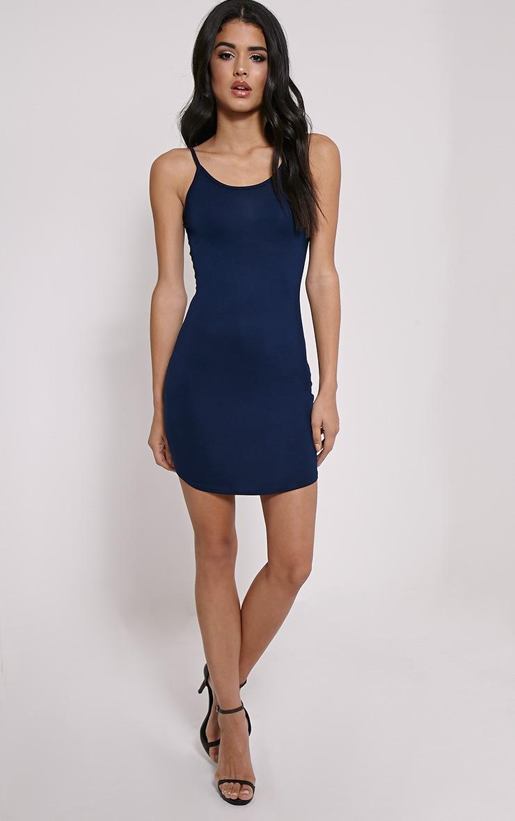 Basic Navy Jersey Strappy Mini Dress 3