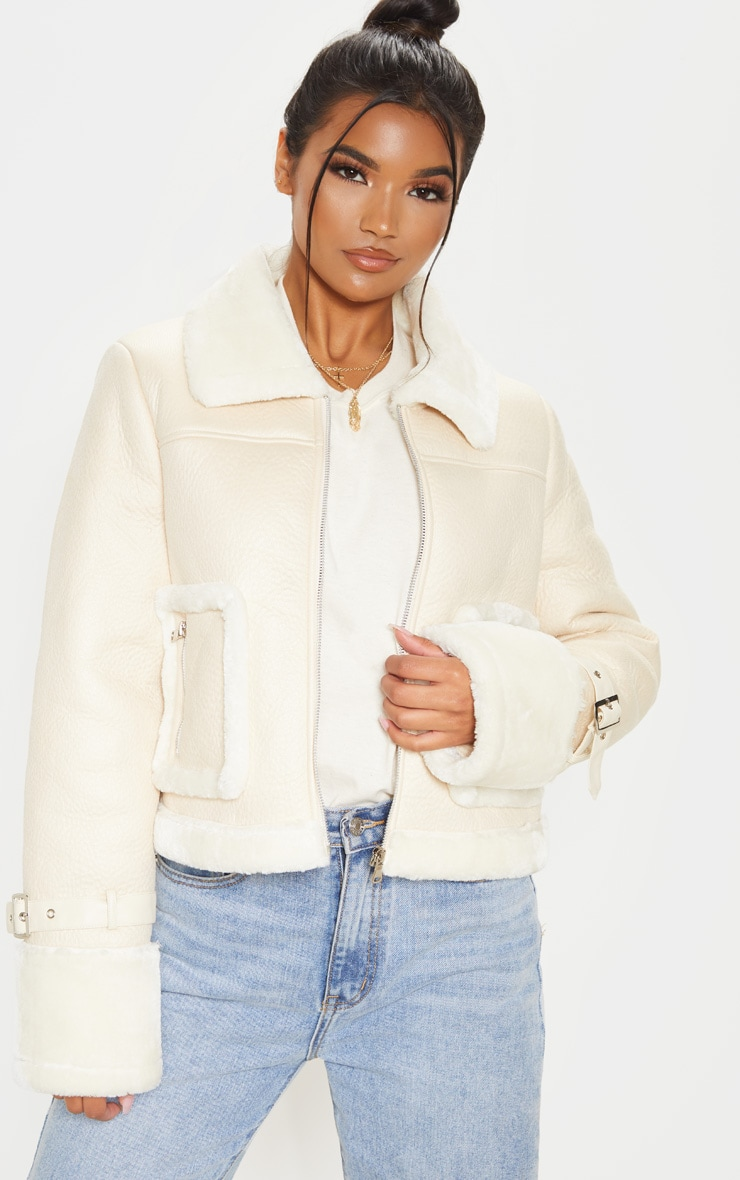 Cream Borg Trim Cropped PU Jacket 1
