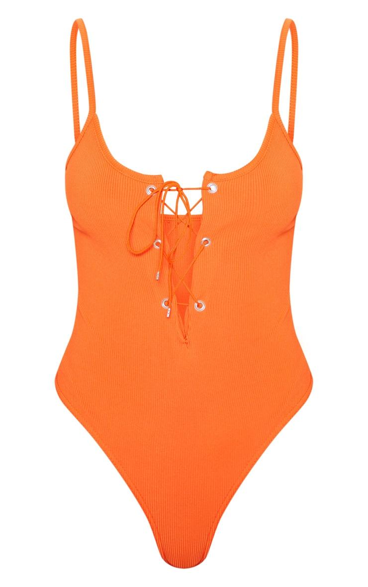 Orange Rib Lace Up Sleeveless Bodysuit 3