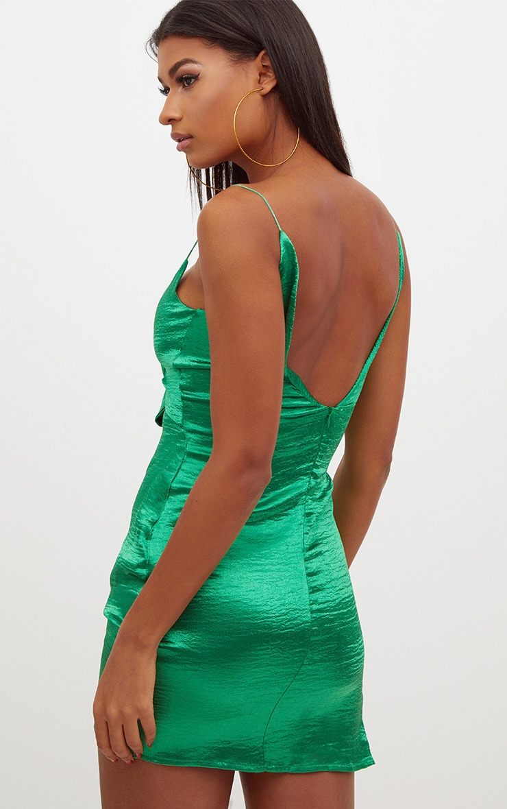 Emerald Green Satin Bow Front Ruched Bodycon Dress 2
