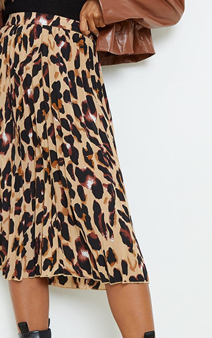 Tan Leopard Print Satin Pleated Midi Skirt 4