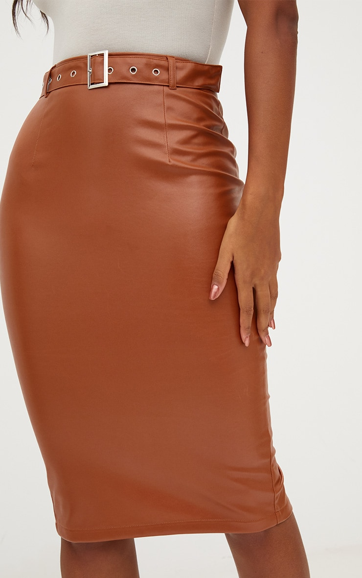 Tan Faux Leather Belted Midi Skirt 5